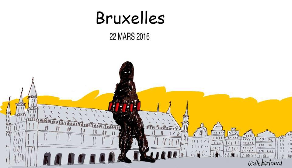 Attentats Bruxelles 22 mars 2016 - Dessin: Cécile Bertrand
