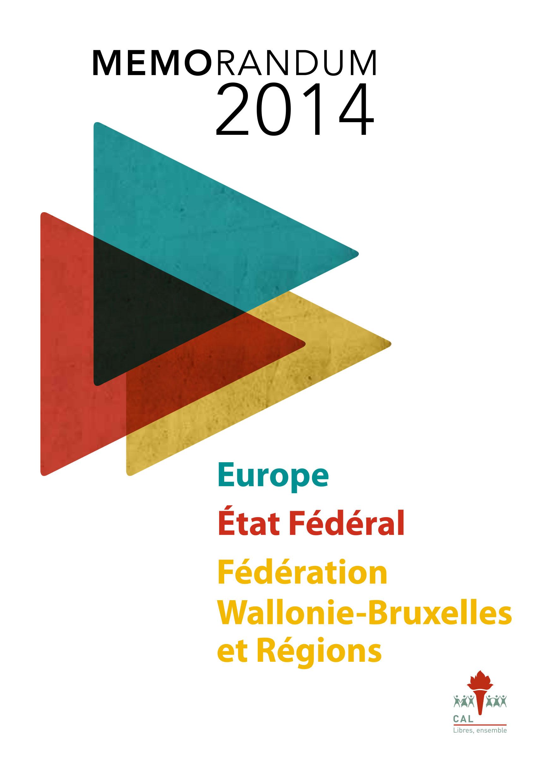 Mémorandum 2014 | Élections communautaires, régionales, fédérales et européennes
