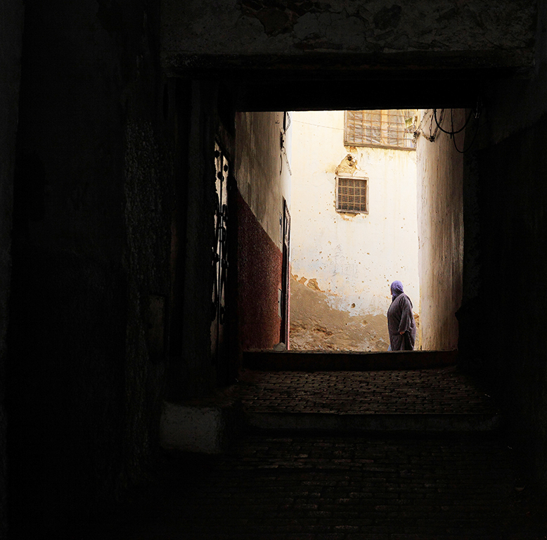 Woman in a narrow street in the medina or old town of Moulay Idriss, Meknes-Tafilalet, Northern Morocco. The town sits atop 2 hills on Mount Zerhoun and was founded by Moulay Idriss I, who arrived in 789 AD and ruled until 791, bringing Islam to Morocco and founding the Idrisid Dynasty. It is an important pilgrimage site for muslims. Picture by Manuel Cohen