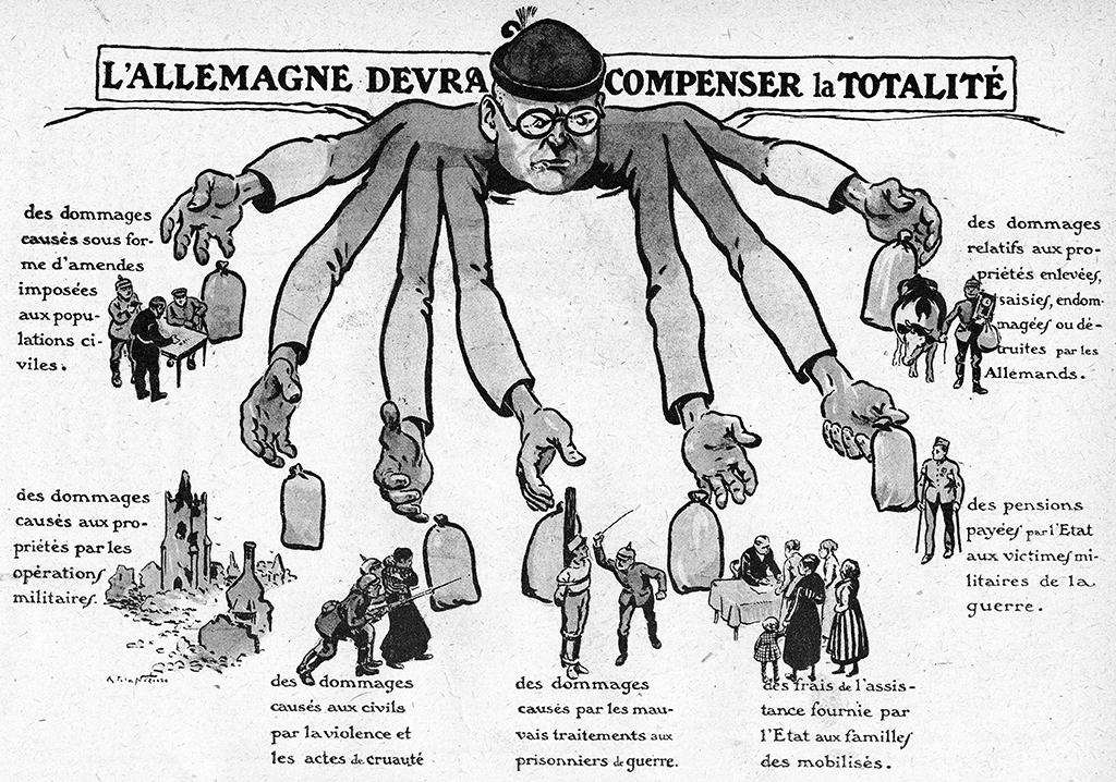 """Traite de Versailles de 1919 : un homme a plusieurs bras representant l'Allemagne et les compensations financieres que le pays devra payer suite a sa defaite durant la premiere guerre mondiale. In """"Lectures pour tous"""" du 15 mars 1919. ©Lee/Leemage"""