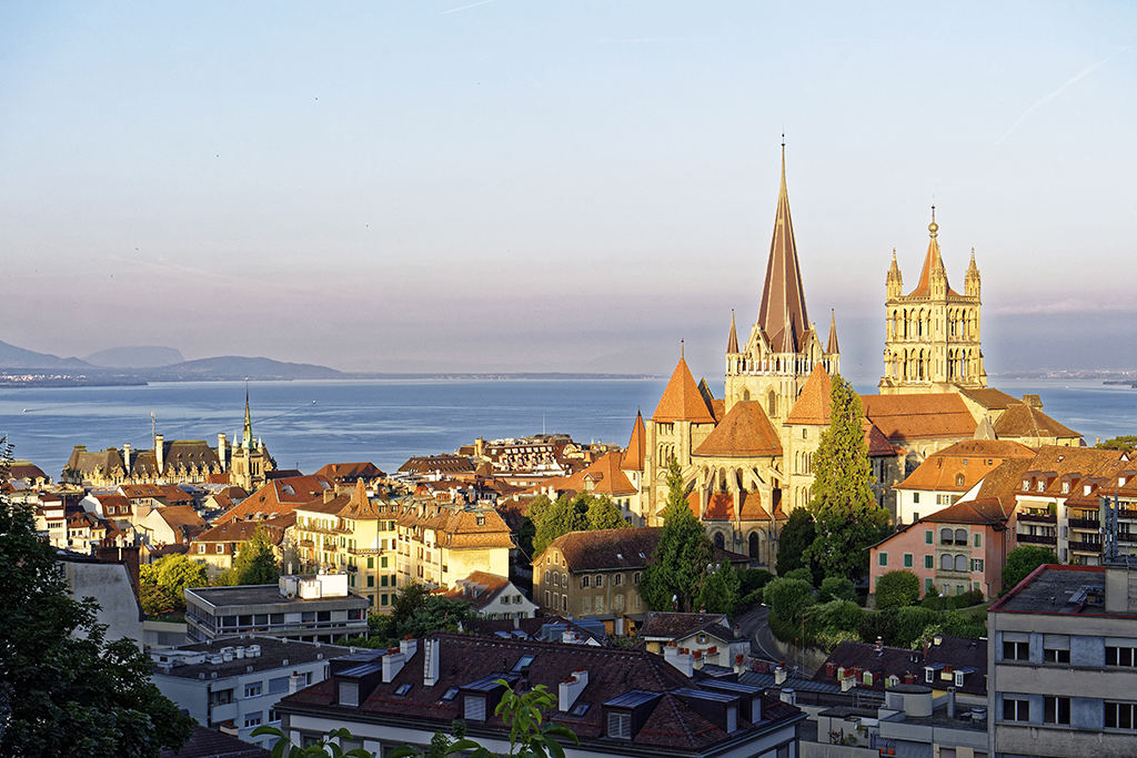 Switzerland, Canton of Vaud, lake Geneva (Leman Lake), Lausanne, city center, Notre Dame Cathedral