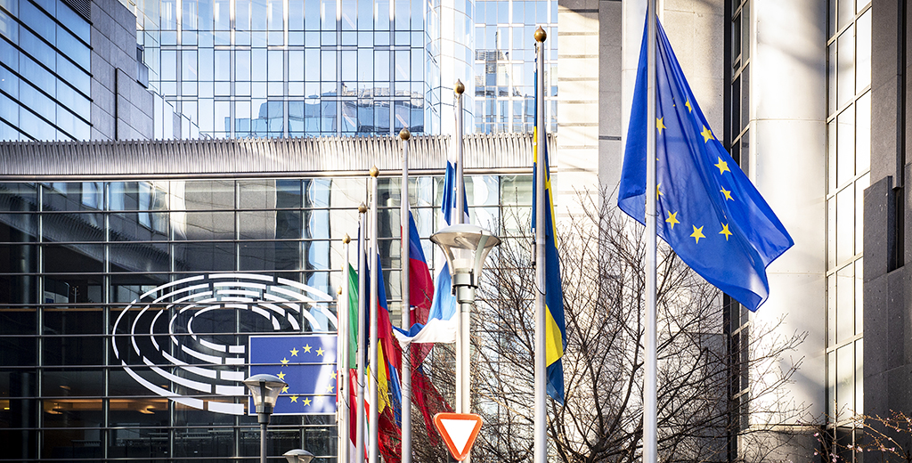 EU flags outside the EP in Brussels