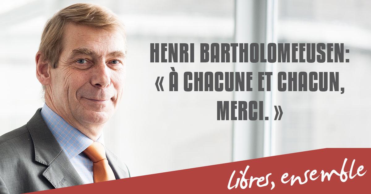Présidence du Centre d'Action Laïque: passage de flambeau | Message d'Henri Bartholomeeusen