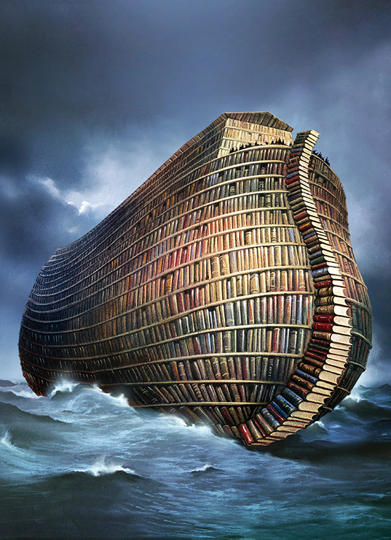 Illustration, boat made of books