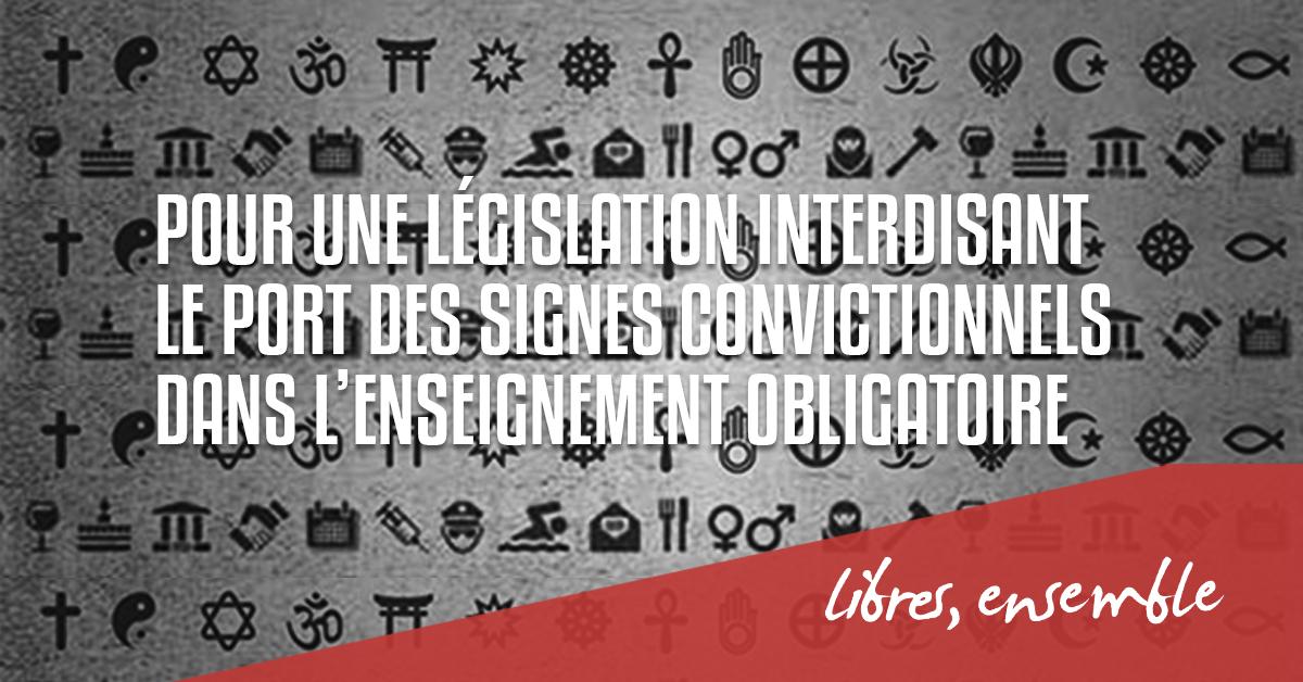 Le Centre d'Action Laïque réitère sa revendication d'une législation interdisant le port des signes convictionnels dans l'enseignement obligatoire