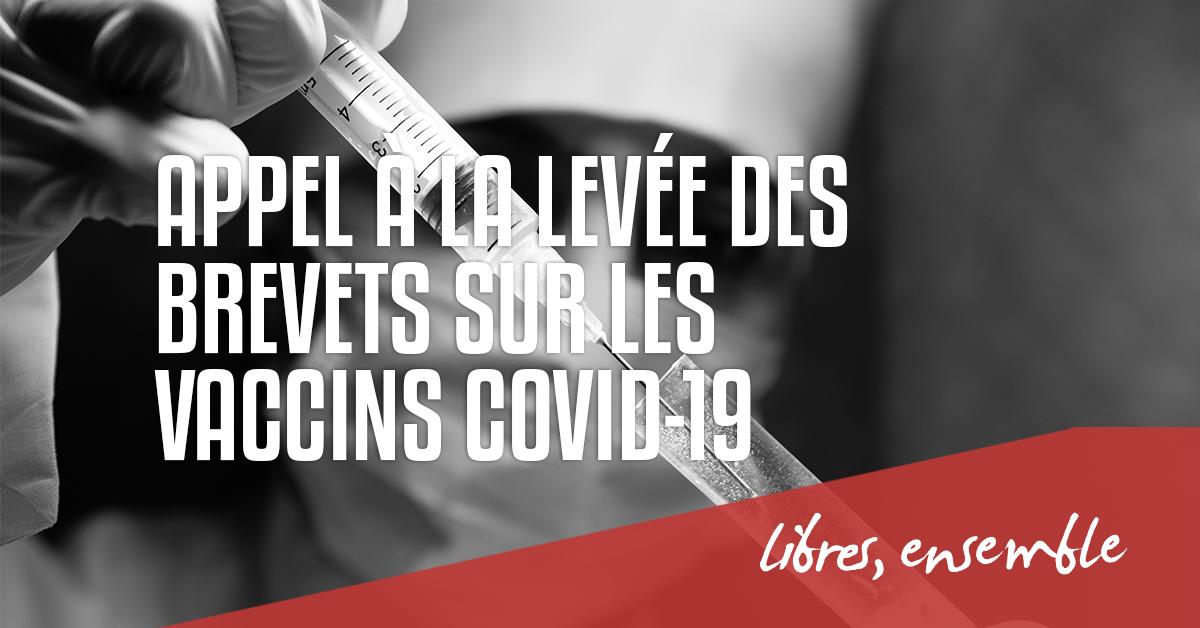 Le Centre d'Action Laïque et DeMens.nu appellent à la levée des brevets sur les vaccins Covid-19