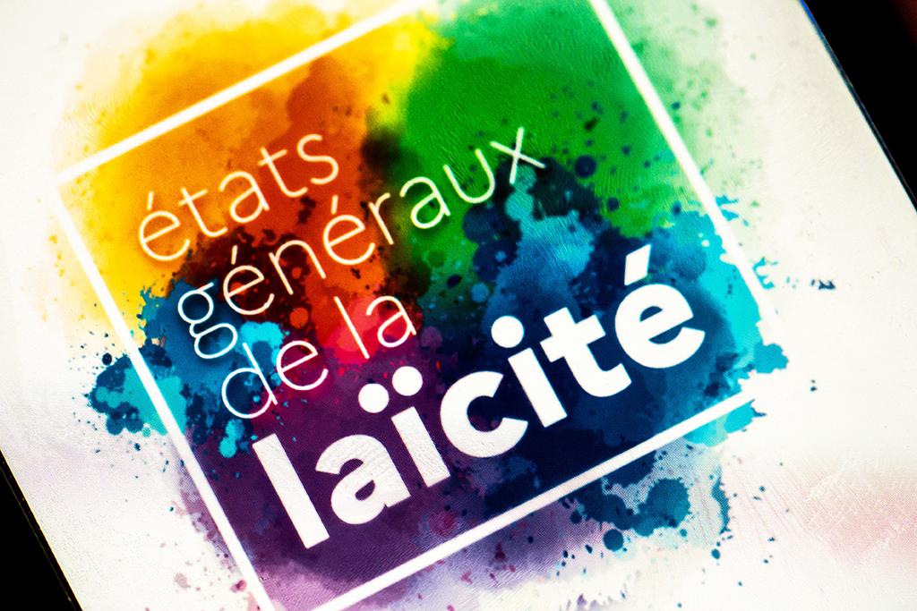 """April 20, 2021, Paris (75), FRANCE. Photograph by Xose Bouzas / Hans Lucas. Detail of the logo of the press kit """" States General of Secularism """" of the Ministry of the Interior. 20 avril 2021, Paris (75), FRANCE. Photographie de Xose Bouzas / Hans Lucas. Detail du logo du dossier de presse """" Etats generaux de la laicite """" du Ministere de l interieur. (Photo by Xose Bouzas / Hans Lucas / Hans Lucas via AFP)"""